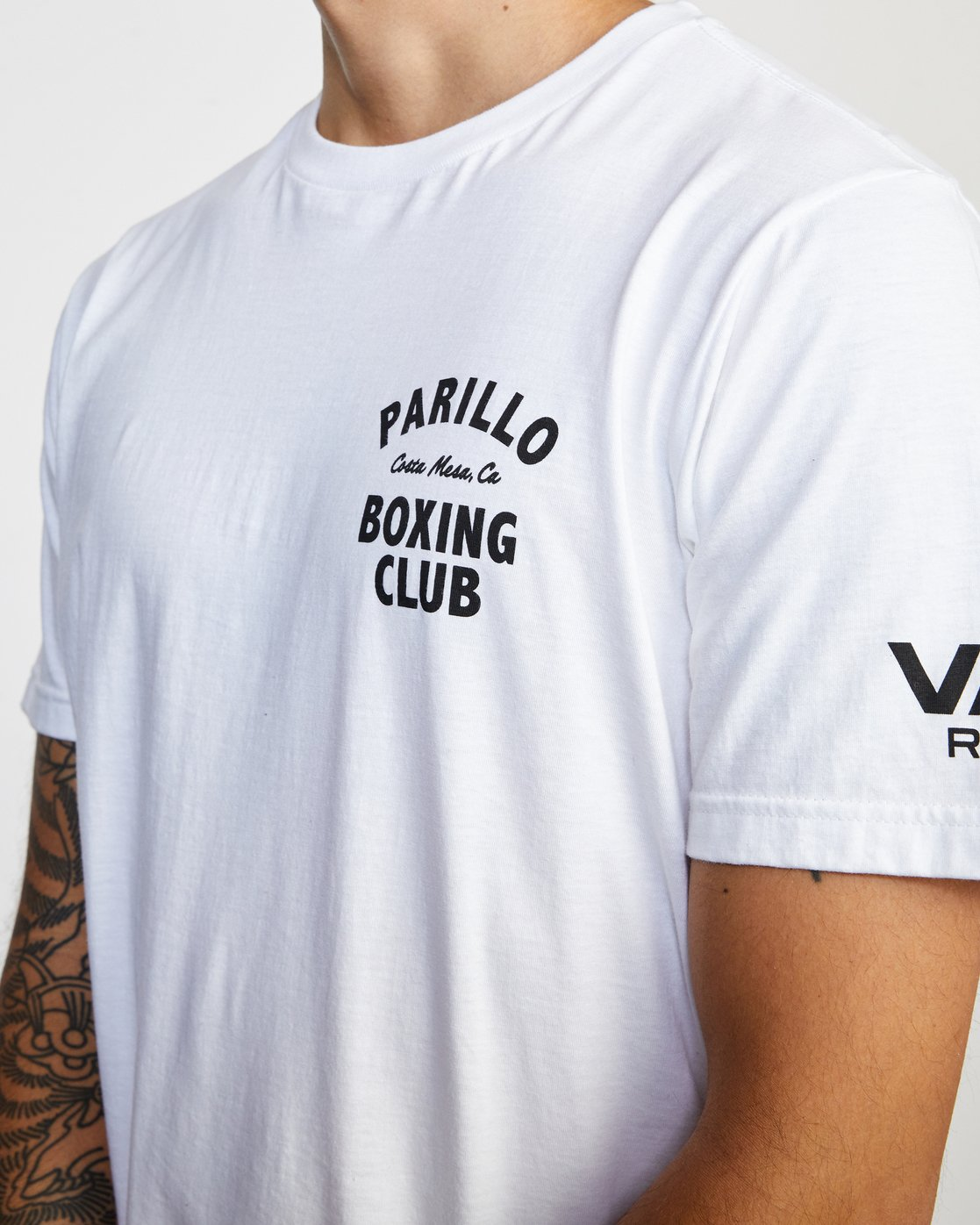 4 Parillo Boxing Club Short Sleeve T-Shirt White AVYZT00298 RVCA