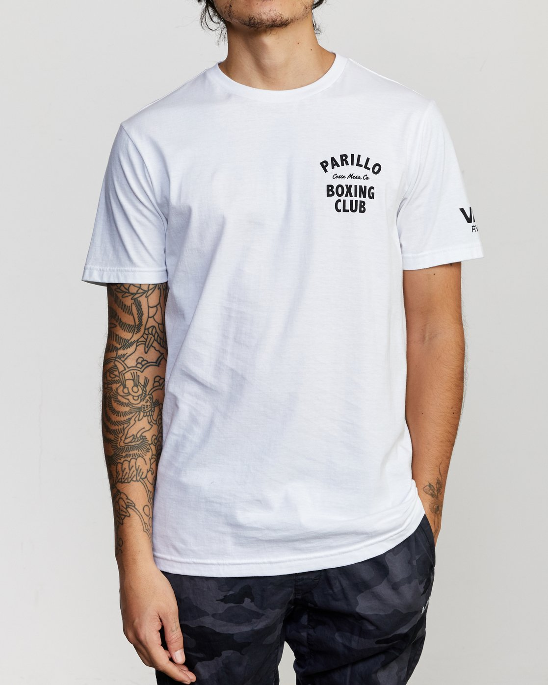 2 Parillo Boxing Club Short Sleeve T-Shirt White AVYZT00298 RVCA