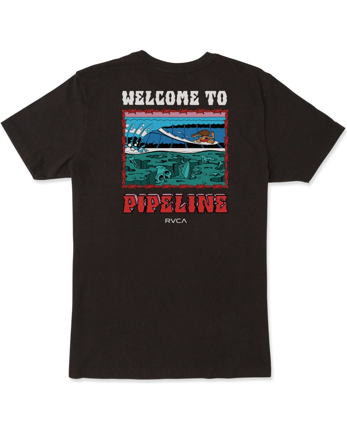 1 WELCOME TO PIPE SHORT SLEEVE TEE Black AVYZT00325 RVCA