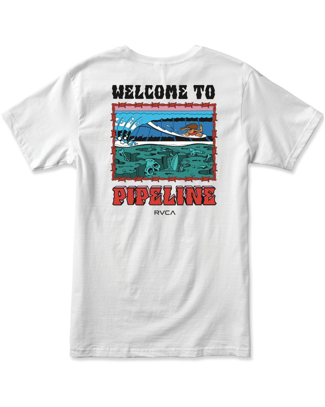 1 WELCOME TO PIPE SHORT SLEEVE TEE White AVYZT00325 RVCA