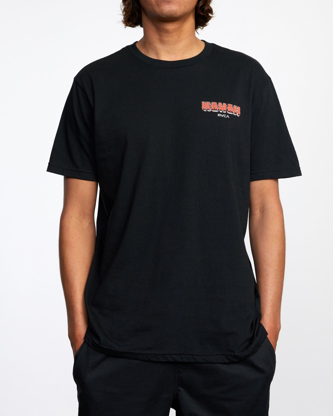 2 WELCOME TO PIPE SHORT SLEEVE TEE Black AVYZT00325 RVCA