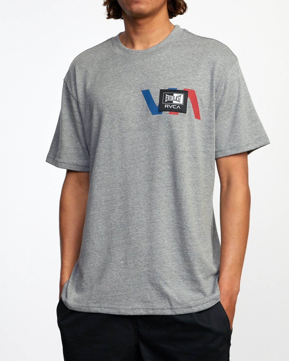 5 RVCA EVERLAST STACK PATCH SHORT SLEEVE TEE Grey AVYZT00398 RVCA