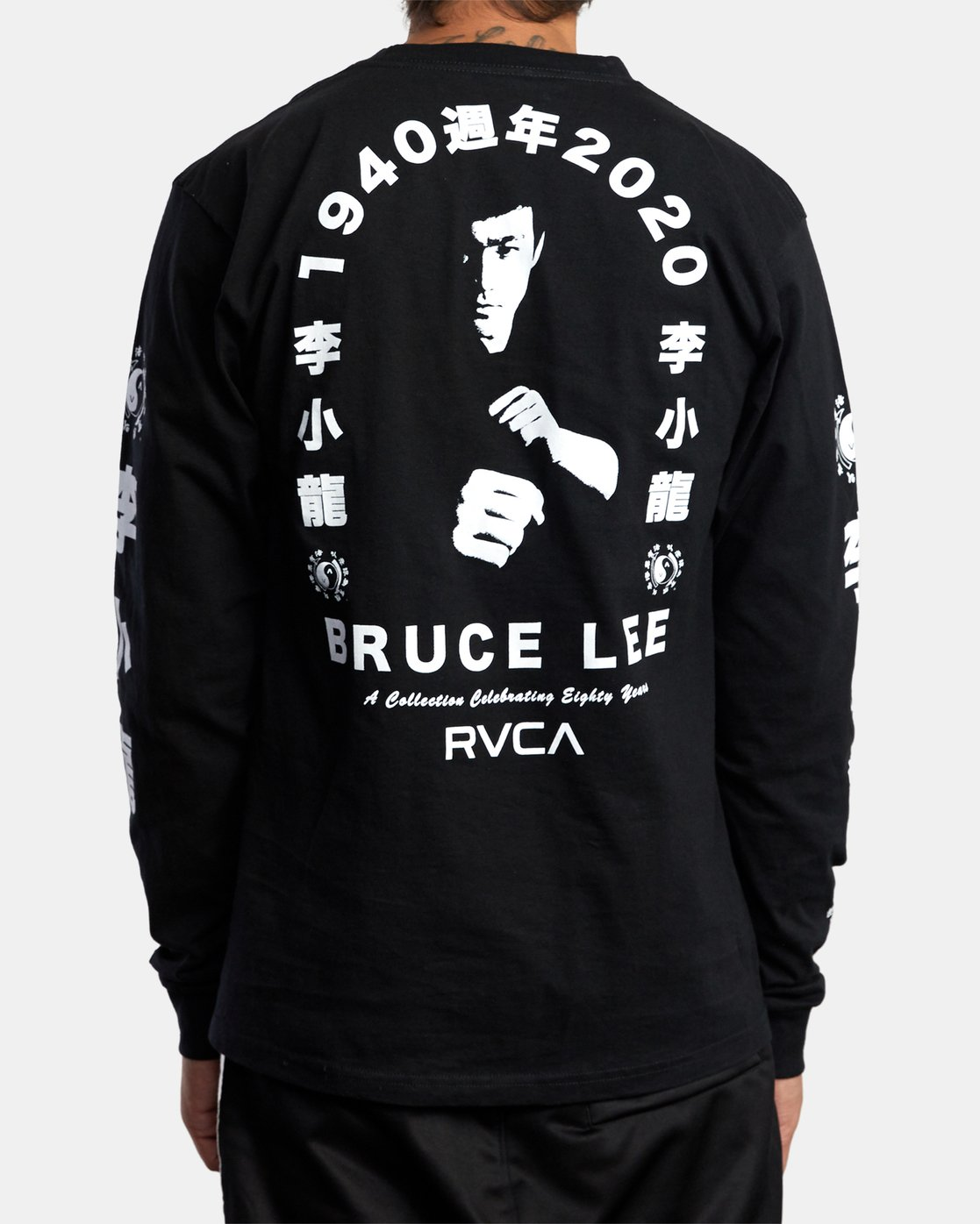 5 BRUCE LEE EIGHTY YEARS LONG SLEEVE TEE Black AVYZT00440 RVCA