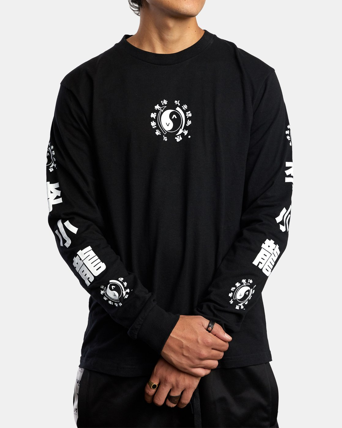 2 BRUCE LEE EIGHTY YEARS LONG SLEEVE TEE Black AVYZT00440 RVCA