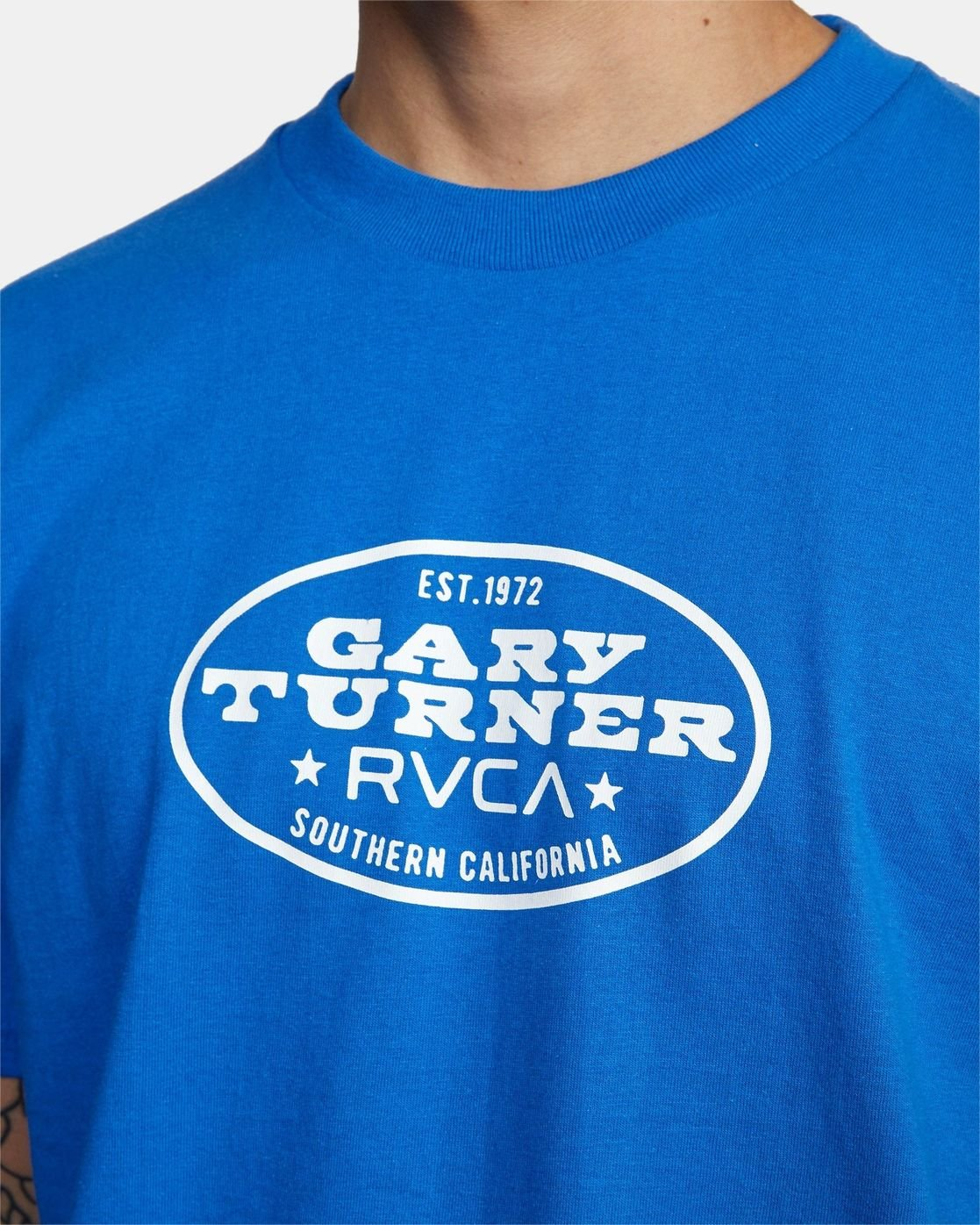 4 Gary Turner Short Sleeve T-Shirt Blue AVYZT00692 RVCA