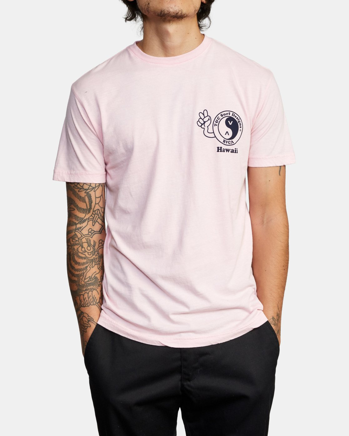 2 T&C Dude Short Sleeve T-Shirt Pink AVYZT00696 RVCA