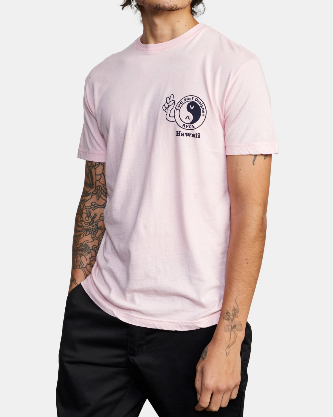 5 T&C Dude Short Sleeve T-Shirt Pink AVYZT00696 RVCA