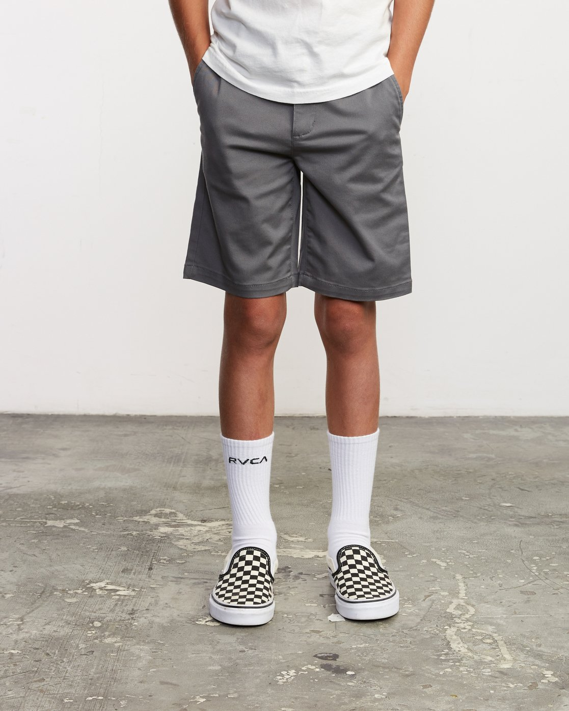 1 Boy's Weekday Stretch Short Grey B240TRWD RVCA