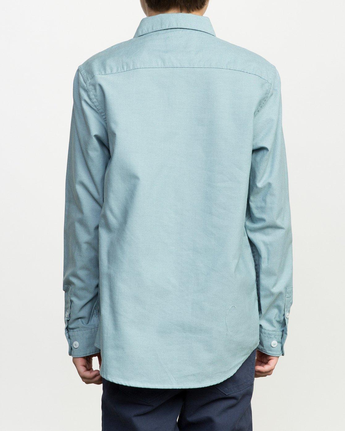 3 Boy's That'll Do Oxford Long Sleeve Shirt Blue B3506TDL RVCA