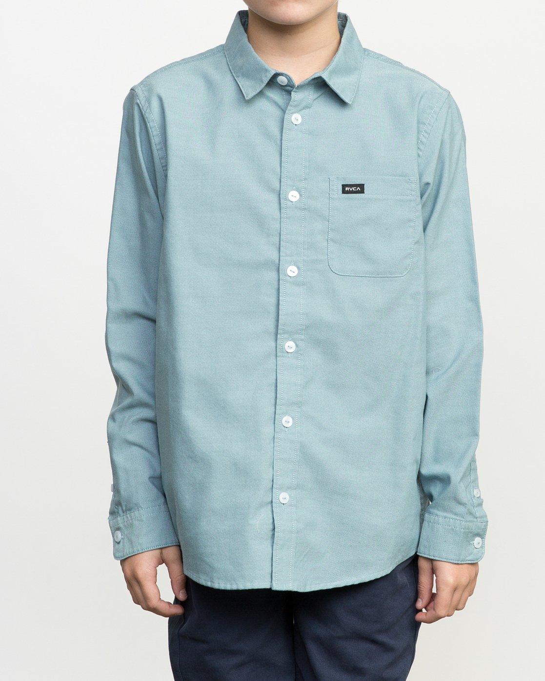 1 Boy's That'll Do Oxford Long Sleeve Shirt Blue B3506TDL RVCA