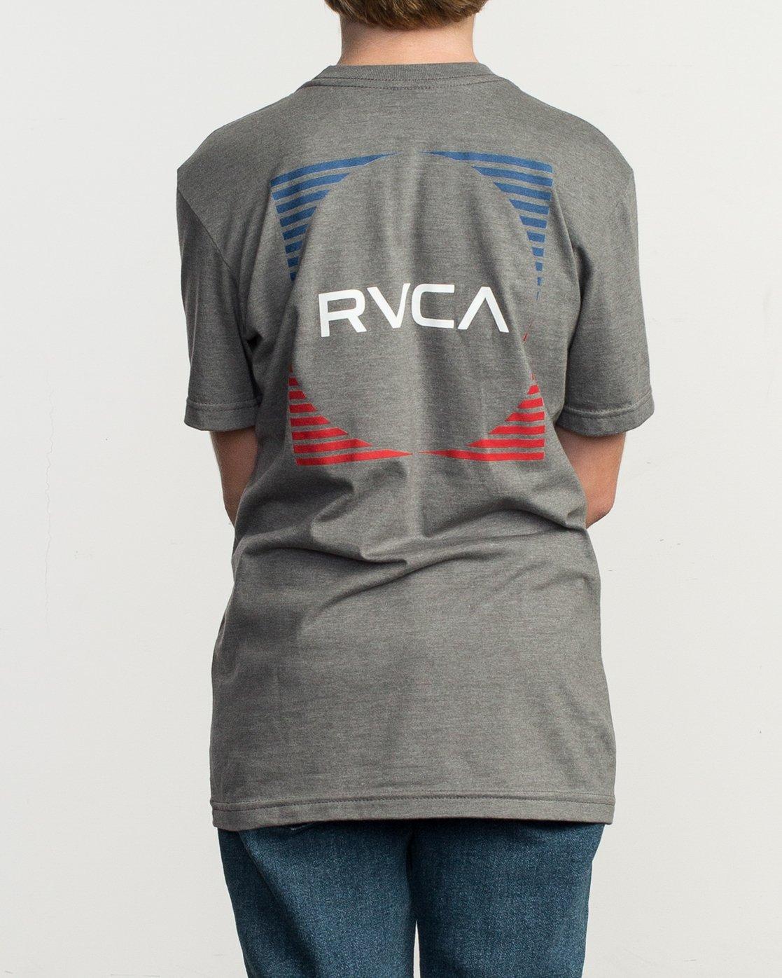 4 Boy's Motorstripe T-Shirt Grey B401TRMS RVCA