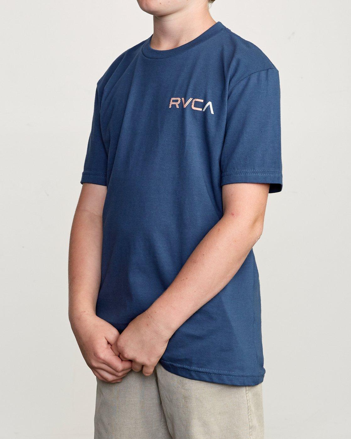 3 Boy's Blind Motors T-Shirt Blue B401URBM RVCA