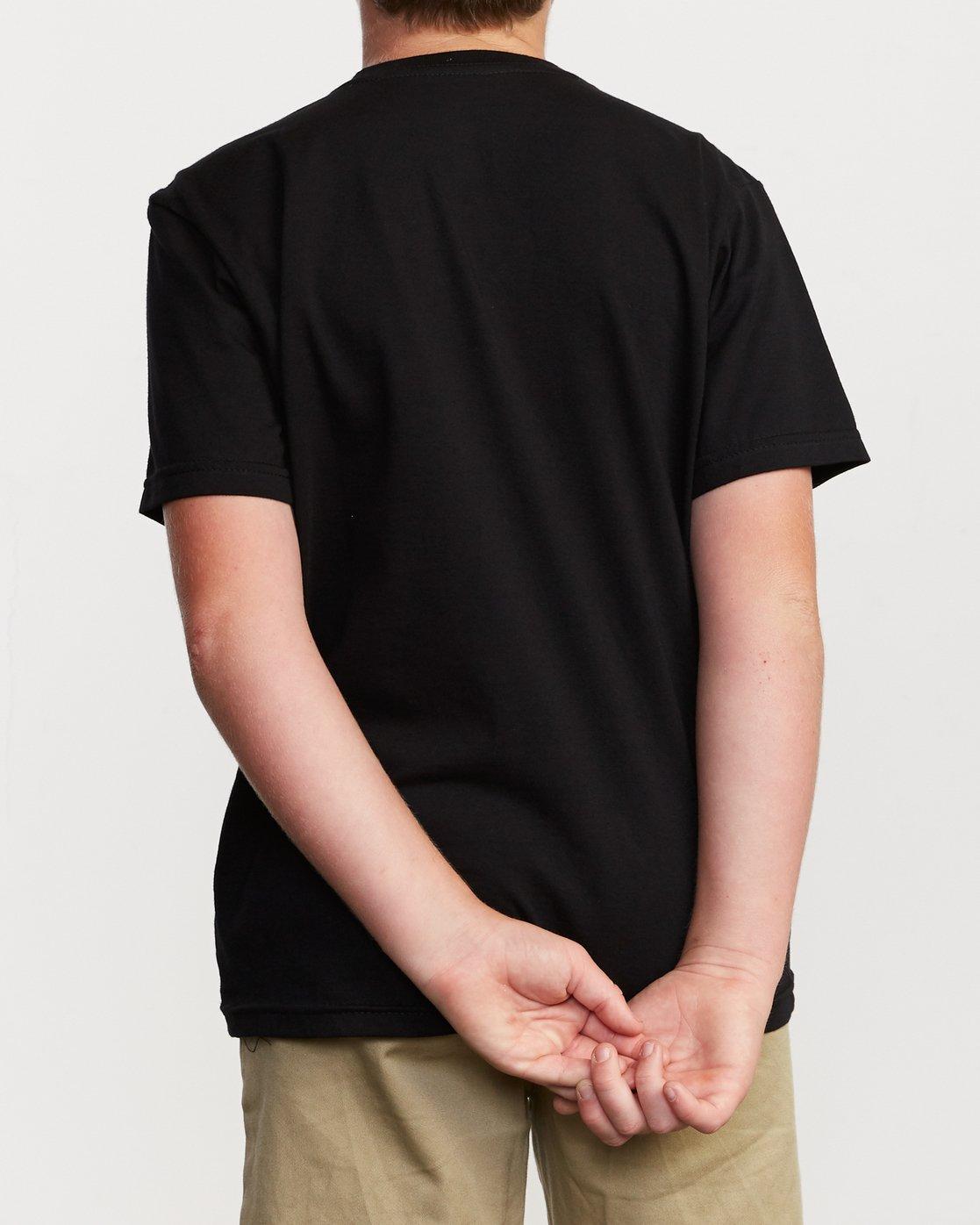 3 Boy's DMOTE Roller Skull T-Shirt Black B401VRRS RVCA