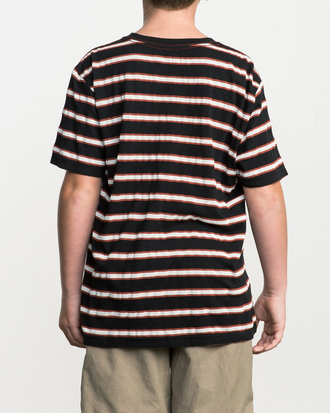 3 Boy's Brong Stripe T-Shirt Black B406SRBR RVCA
