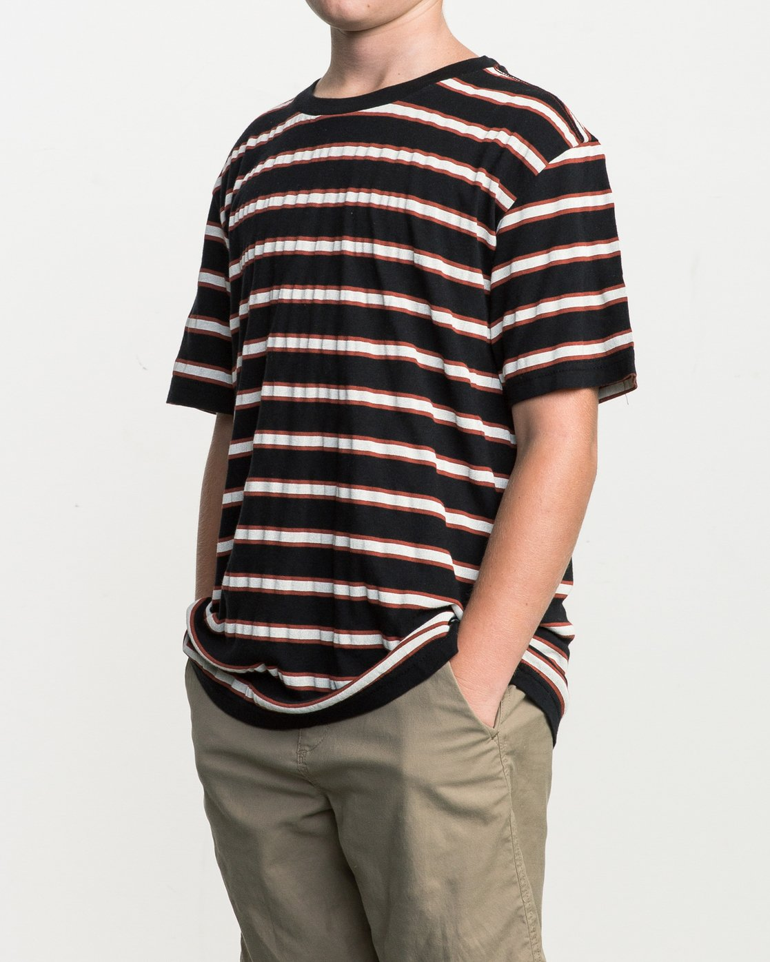 2 Boy's Brong Stripe T-Shirt Black B406SRBR RVCA