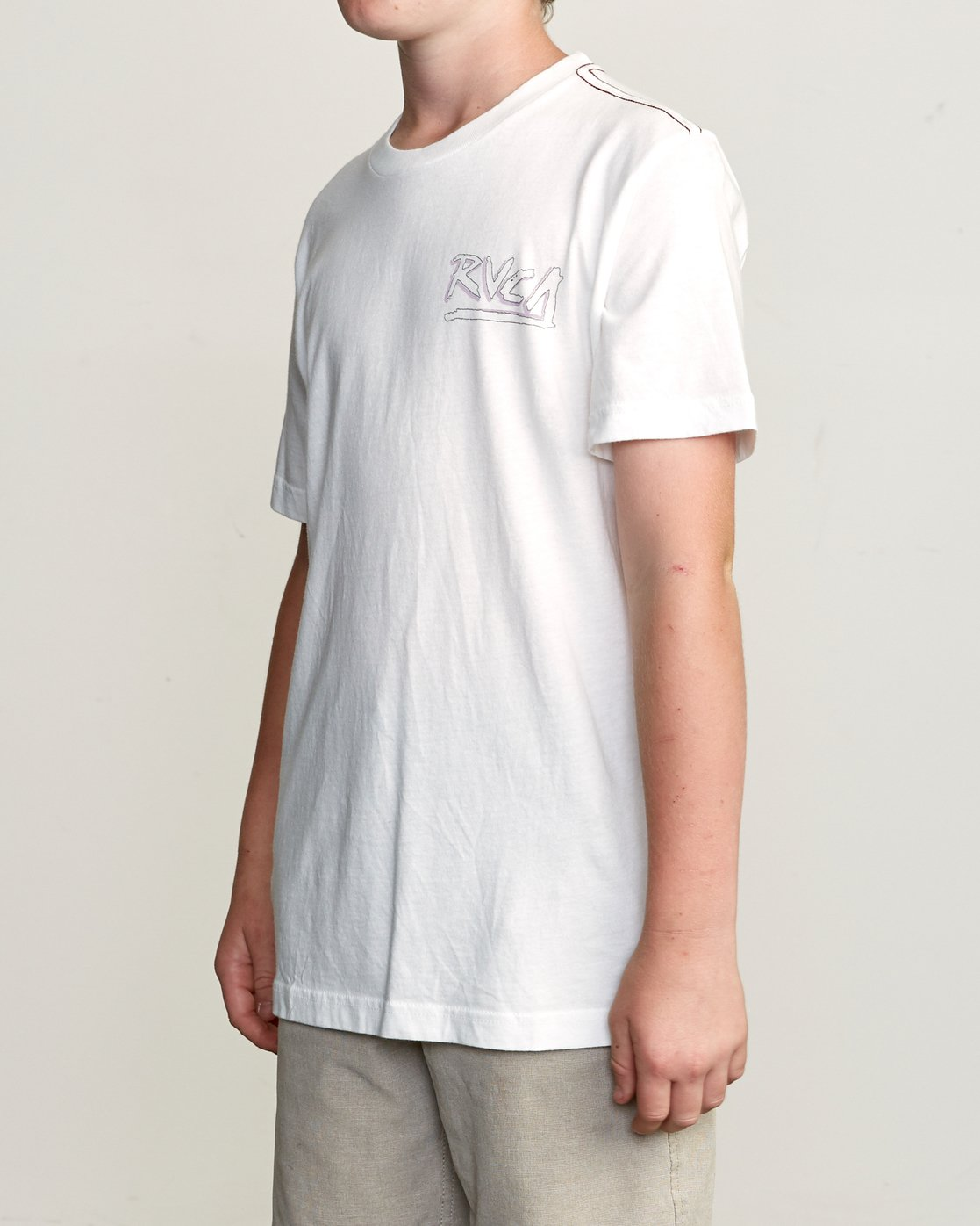 3 Boy's Offset T-Shirt White B406UROF RVCA
