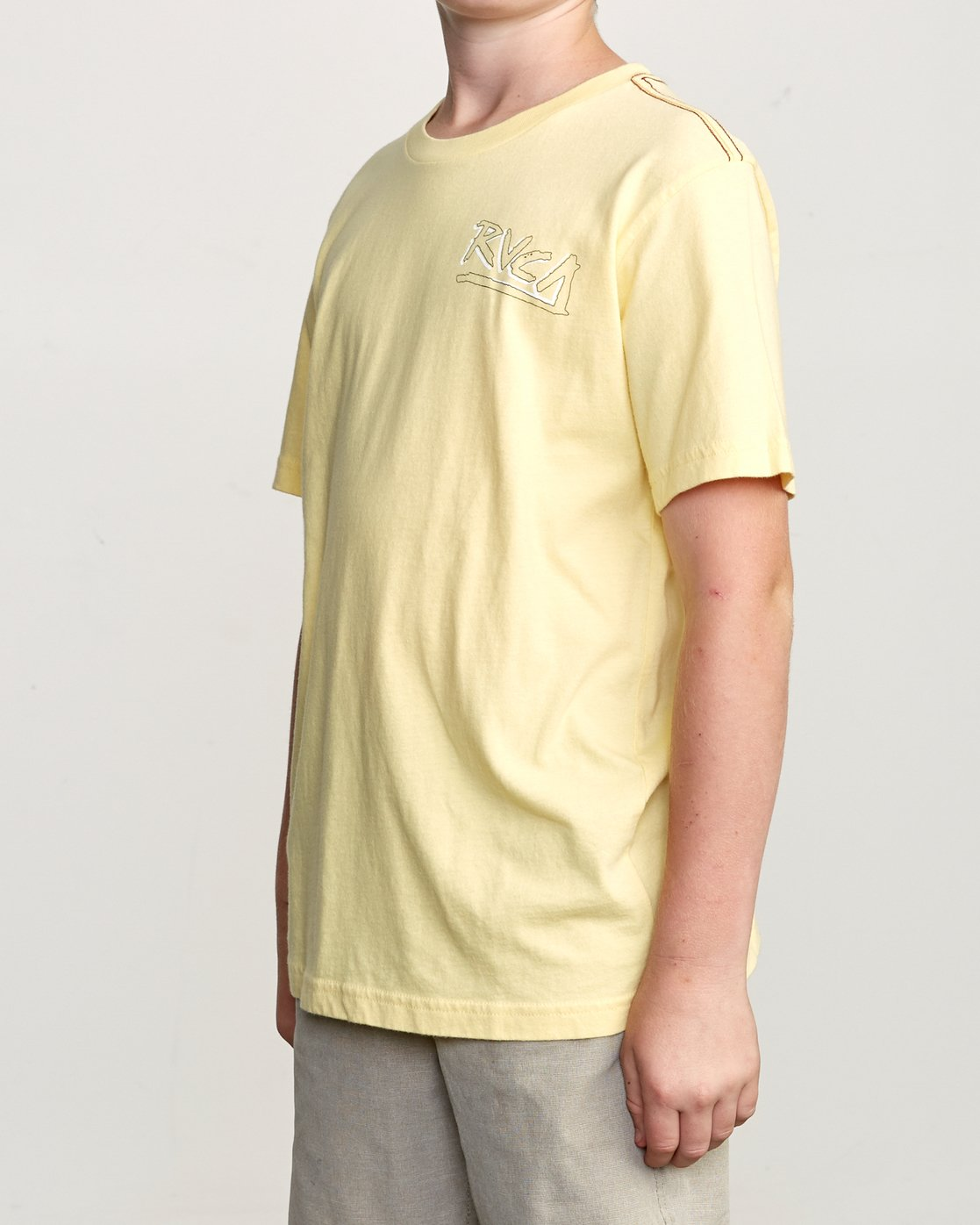 3 Boy's Offset T-Shirt Yellow B406UROF RVCA