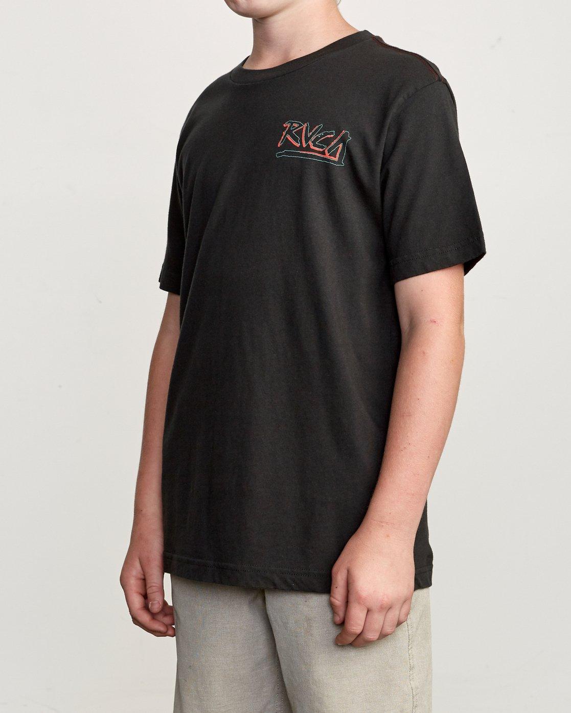 3 Boy's Offset T-Shirt Black B406UROF RVCA