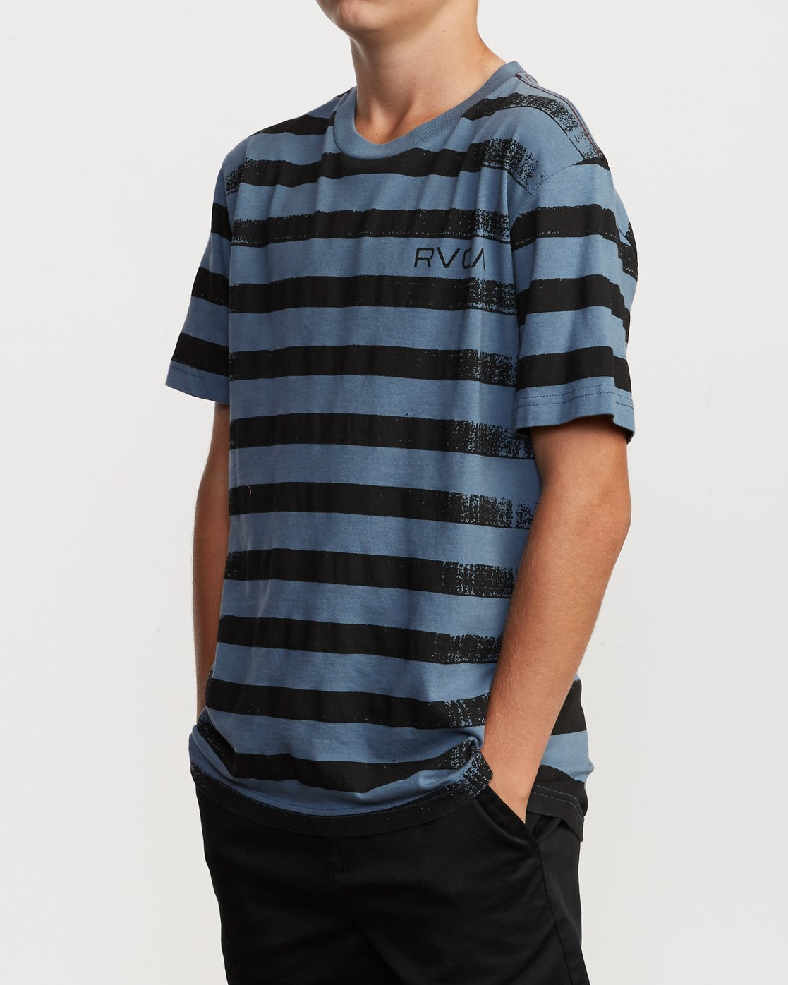 2 Boy's Copy Stripe T-Shirt Blue B406VRCO RVCA