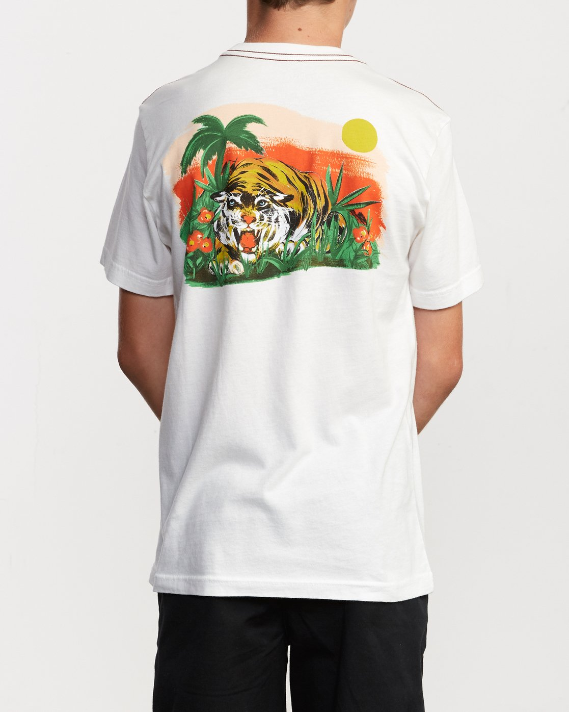 4 Boy's Grisancich Jungle T-Shirt White B406VRJU RVCA