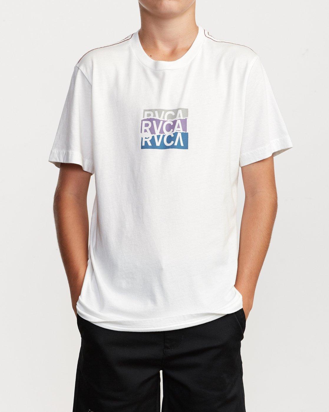 2 Boy's Overlap T-Shirt White B406VROV RVCA