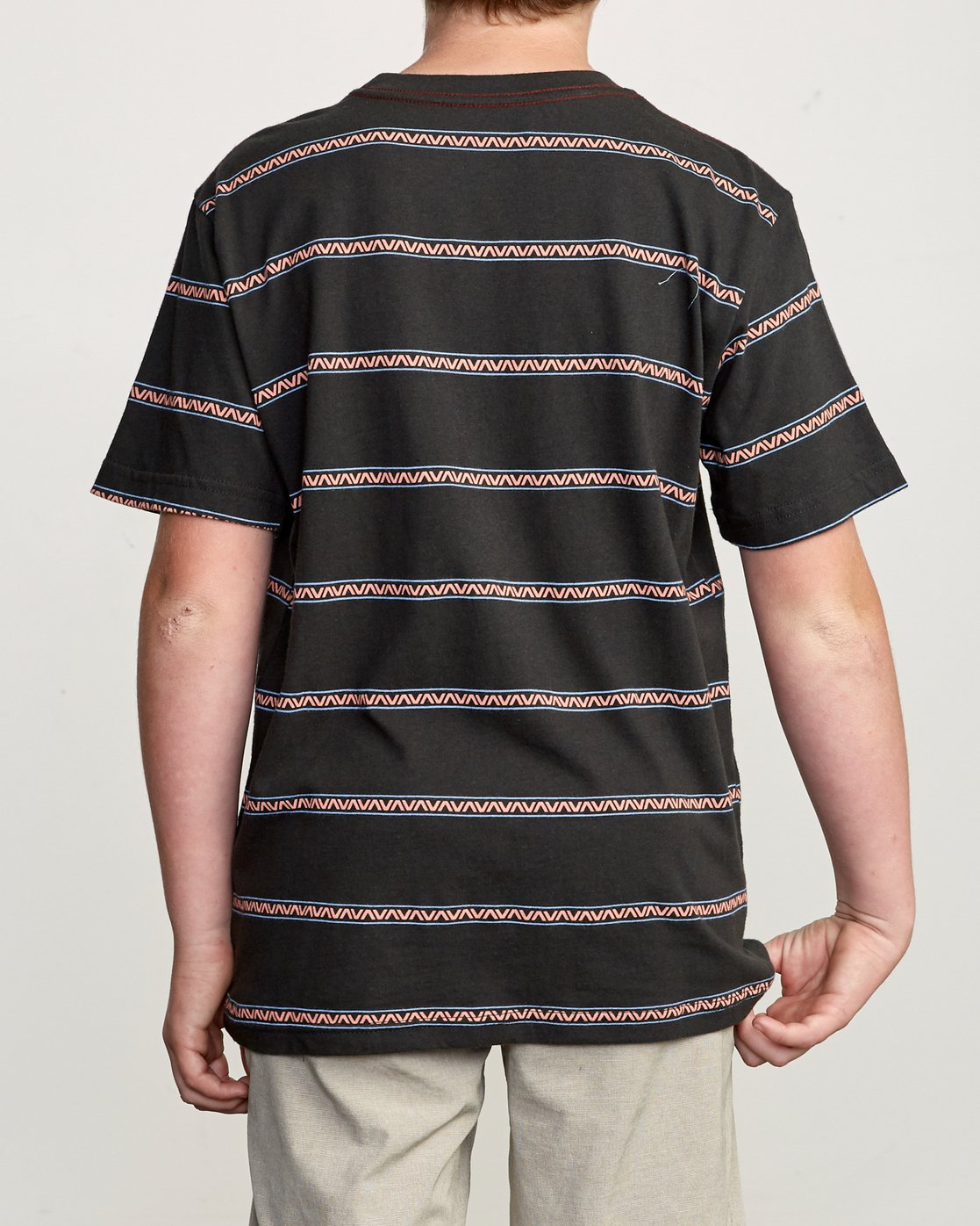 3 Boy's Retro VA Striped Pocket T-Shirt Black B412URRV RVCA
