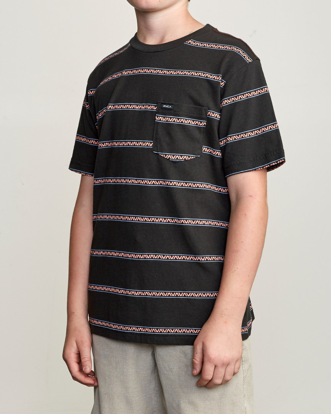 2 Boy's Retro VA Striped Pocket T-Shirt Black B412URRV RVCA