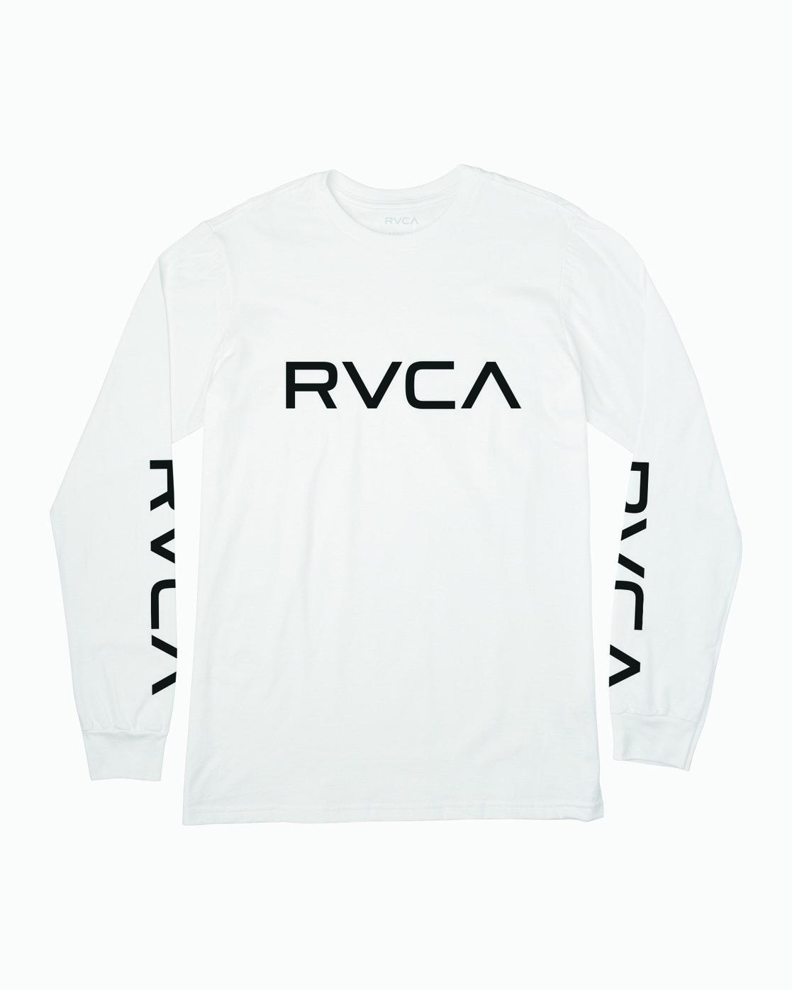 0 Boy's Big RVCA Long Sleeve T-Shirt White B451SRBI RVCA