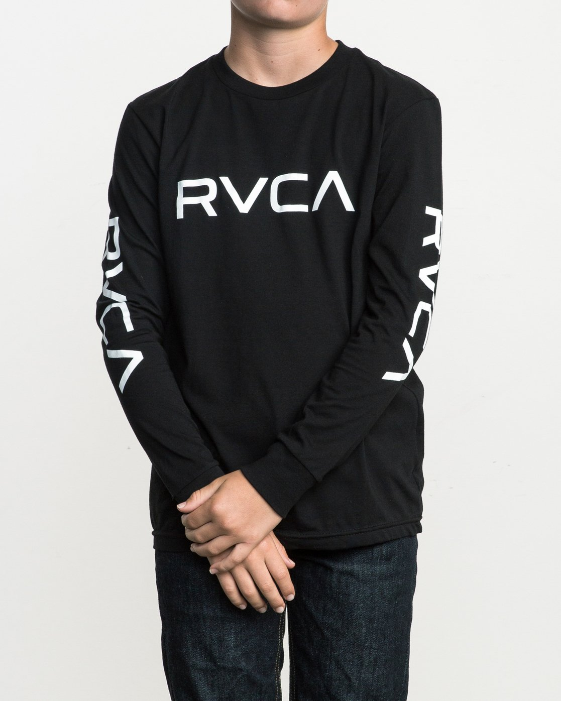 1 Boy's Big RVCA Long Sleeve T-Shirt Black B451SRBI RVCA