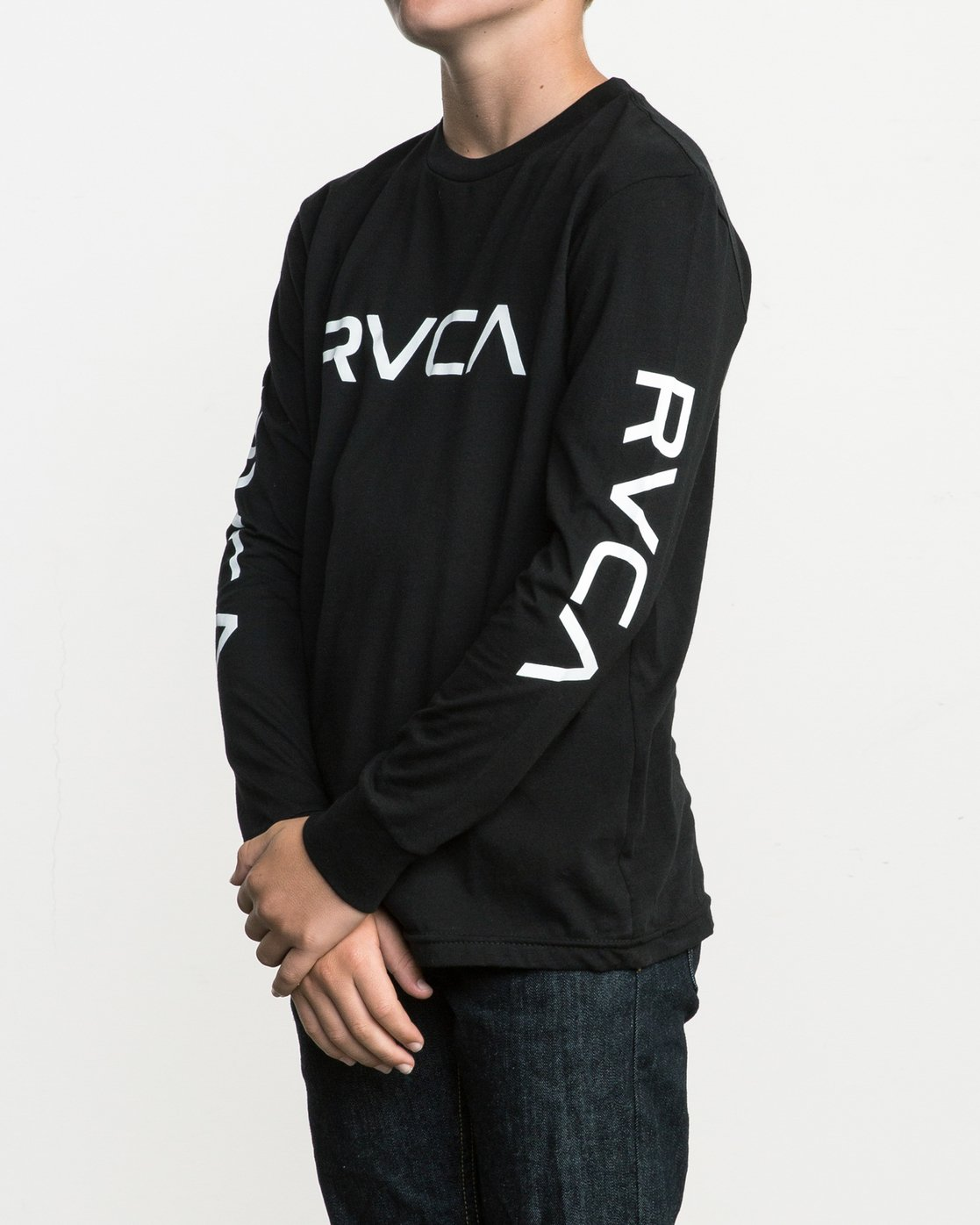 2 Boy's Big RVCA Long Sleeve T-Shirt Black B451SRBI RVCA