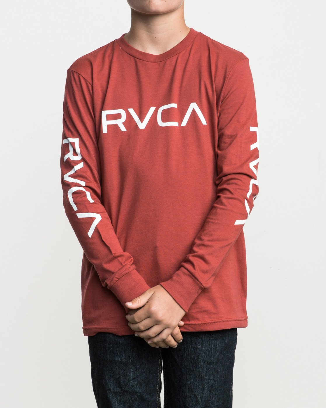 9496a1d0c 0 Boy's Big RVCA Long Sleeve T-Shirt Red B451SRBI RVCA