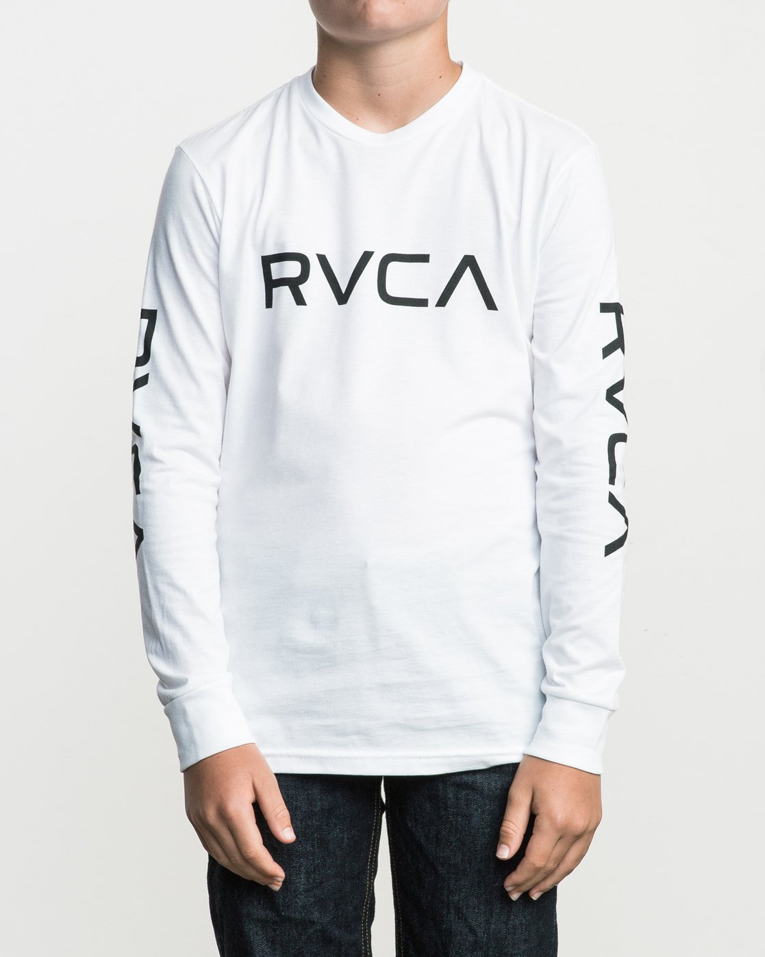 1 Boy's Big RVCA Long Sleeve T-Shirt White B451SRBI RVCA