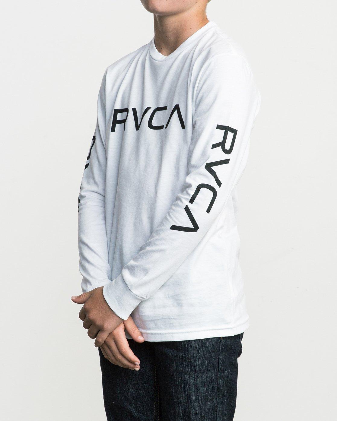 2 Boy's Big RVCA Long Sleeve T-Shirt White B451SRBI RVCA