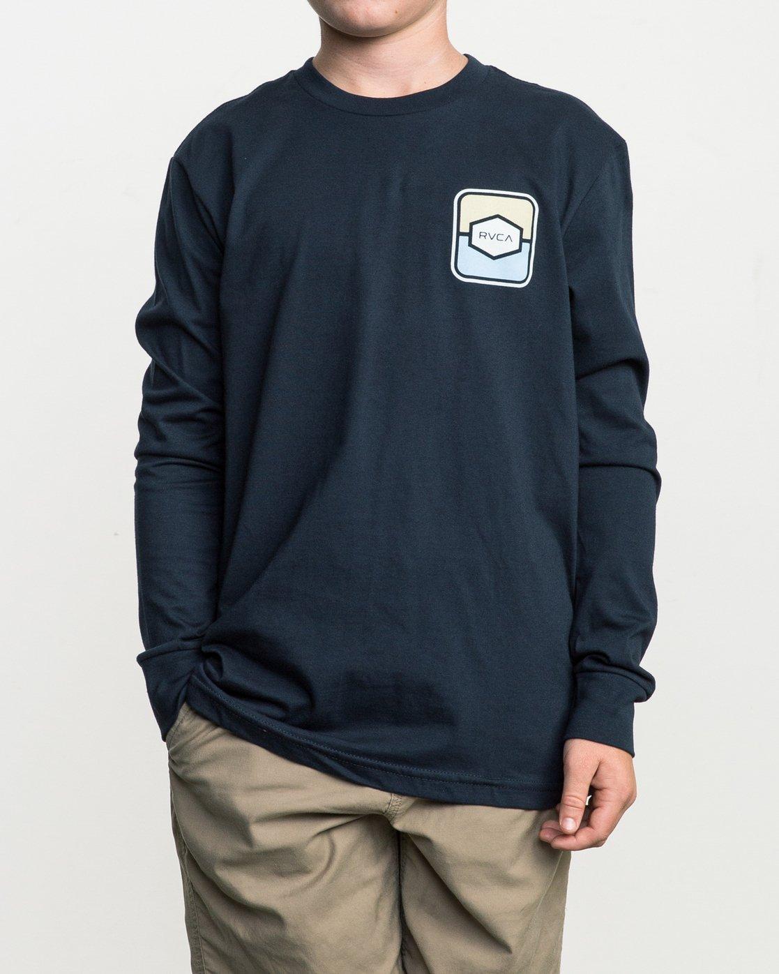 2 Boy's Milton Long Sleeve T-Shirt Blue B451SRMI RVCA