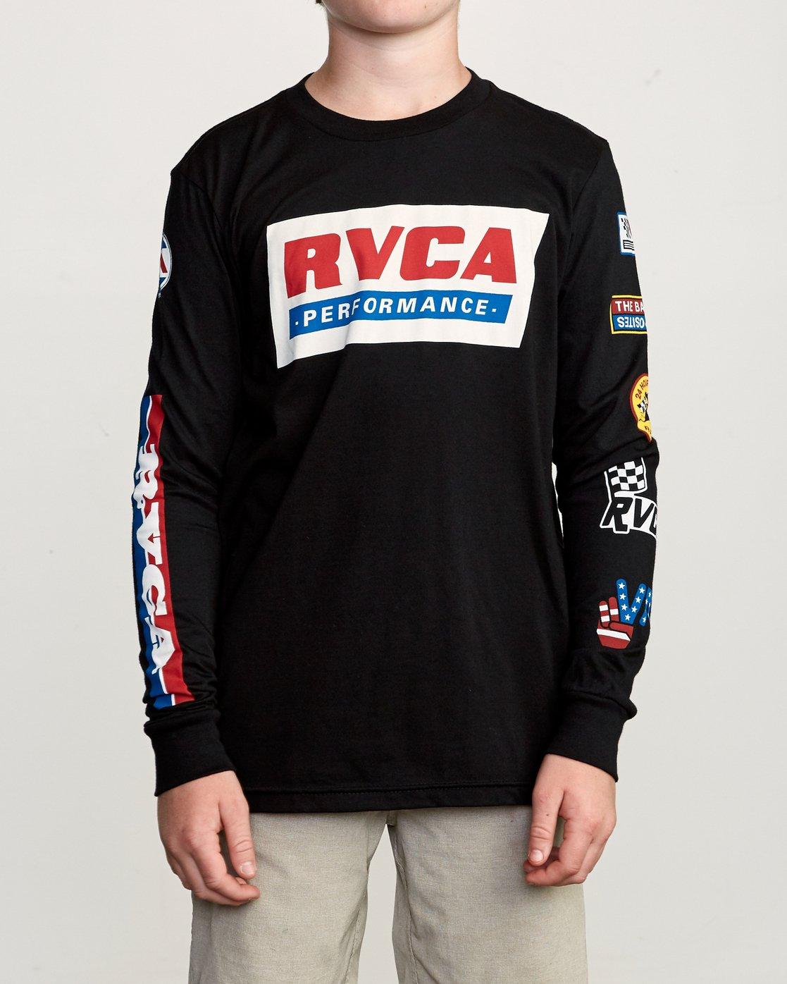 2 Boy's Indianapolis T-Shirt Black B451URIN RVCA