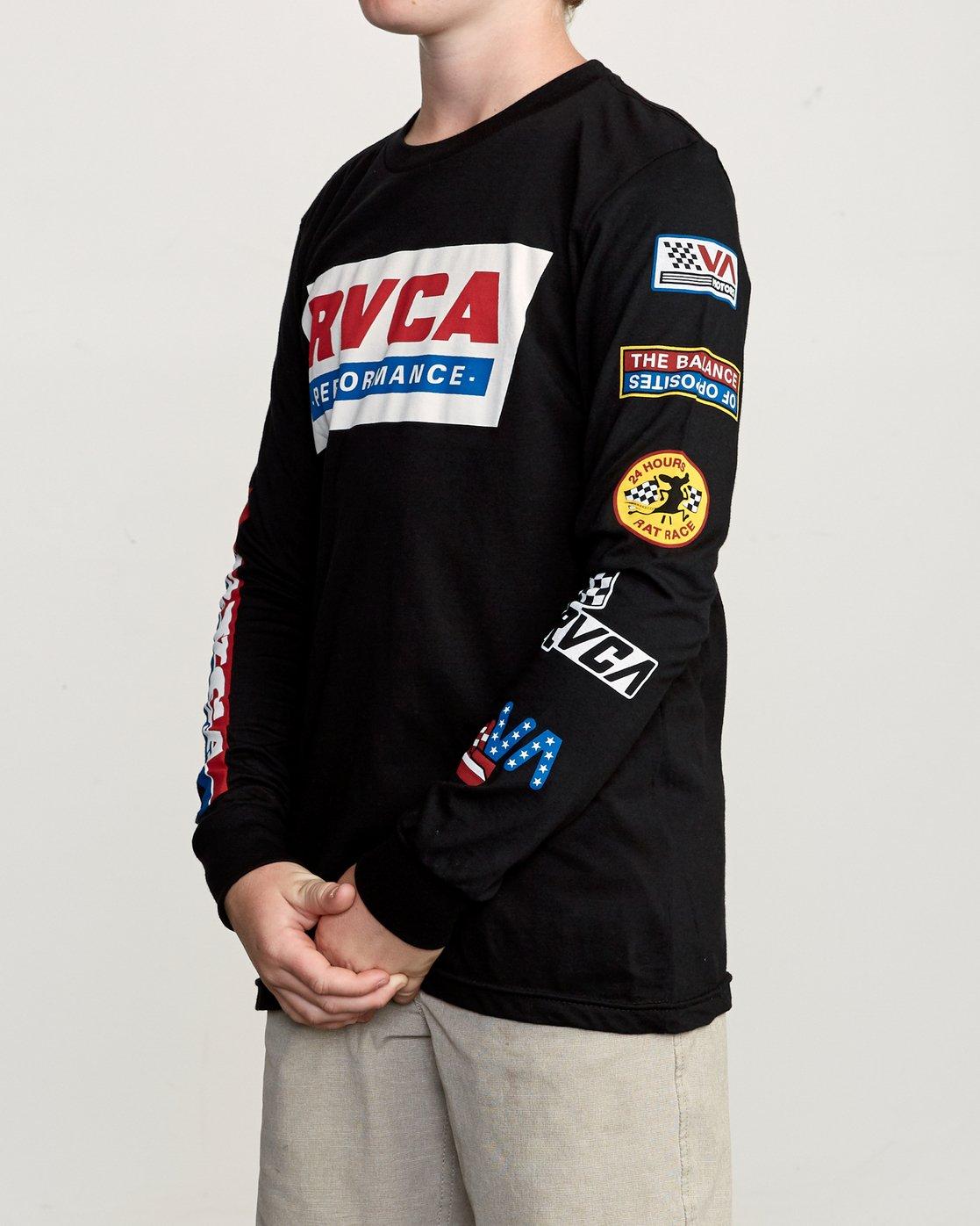 3 Boy's Indianapolis T-Shirt Black B451URIN RVCA