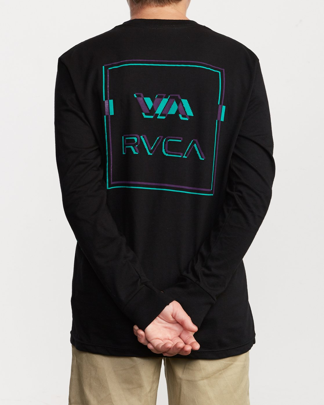 5 Boy's Big Glitch Long Sleeve T-Shirt Black B451VRBG RVCA