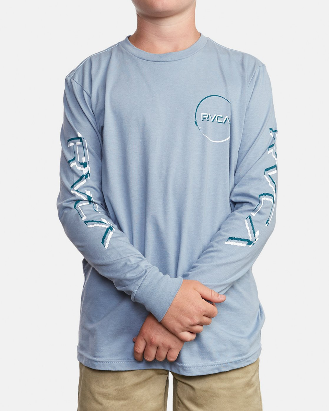 2 Boy's Big Glitch Long Sleeve T-Shirt Blue B451VRBG RVCA