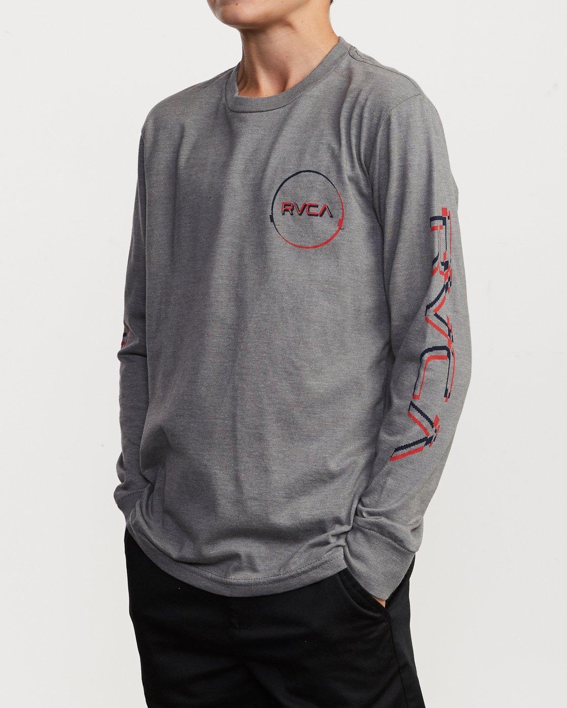 3 Boy's Big Glitch Long Sleeve T-Shirt Grey B451VRBG RVCA