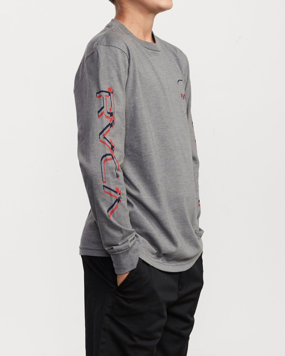 4 Boy's Big Glitch Long Sleeve T-Shirt Grey B451VRBG RVCA