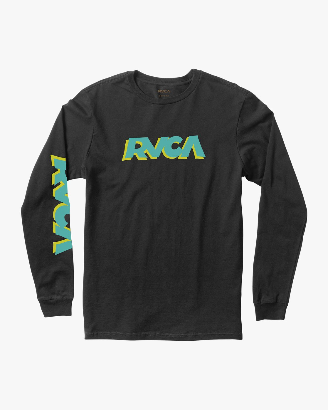 0 Boy's RVCA Slant Long Sleeve T-Shirt Black B453QRRS RVCA