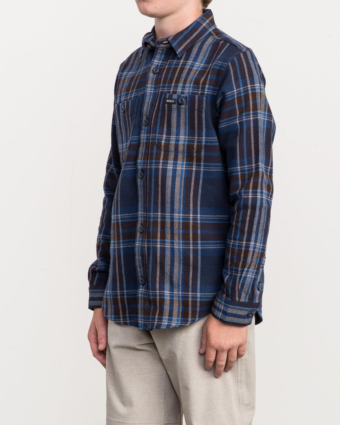 2 Boy's Ludlow Plaid Flannel Blue B502QRLU RVCA
