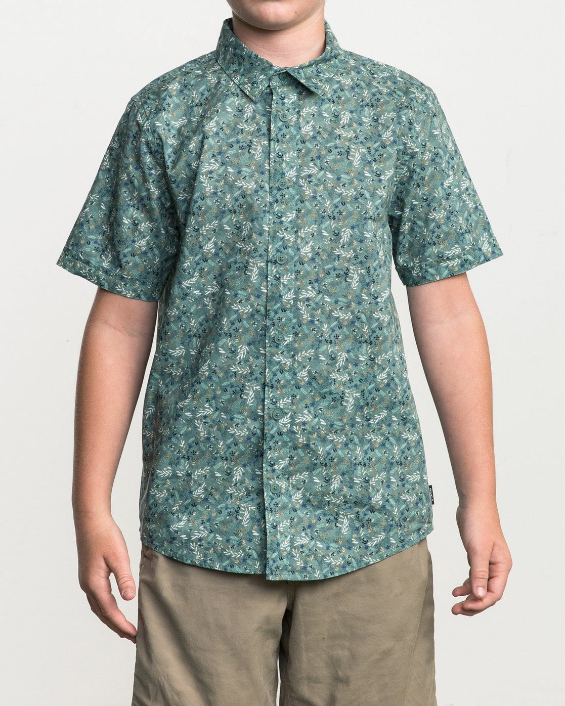 1 Boy's Makato Button-Up Shirt Green B502SRMA RVCA
