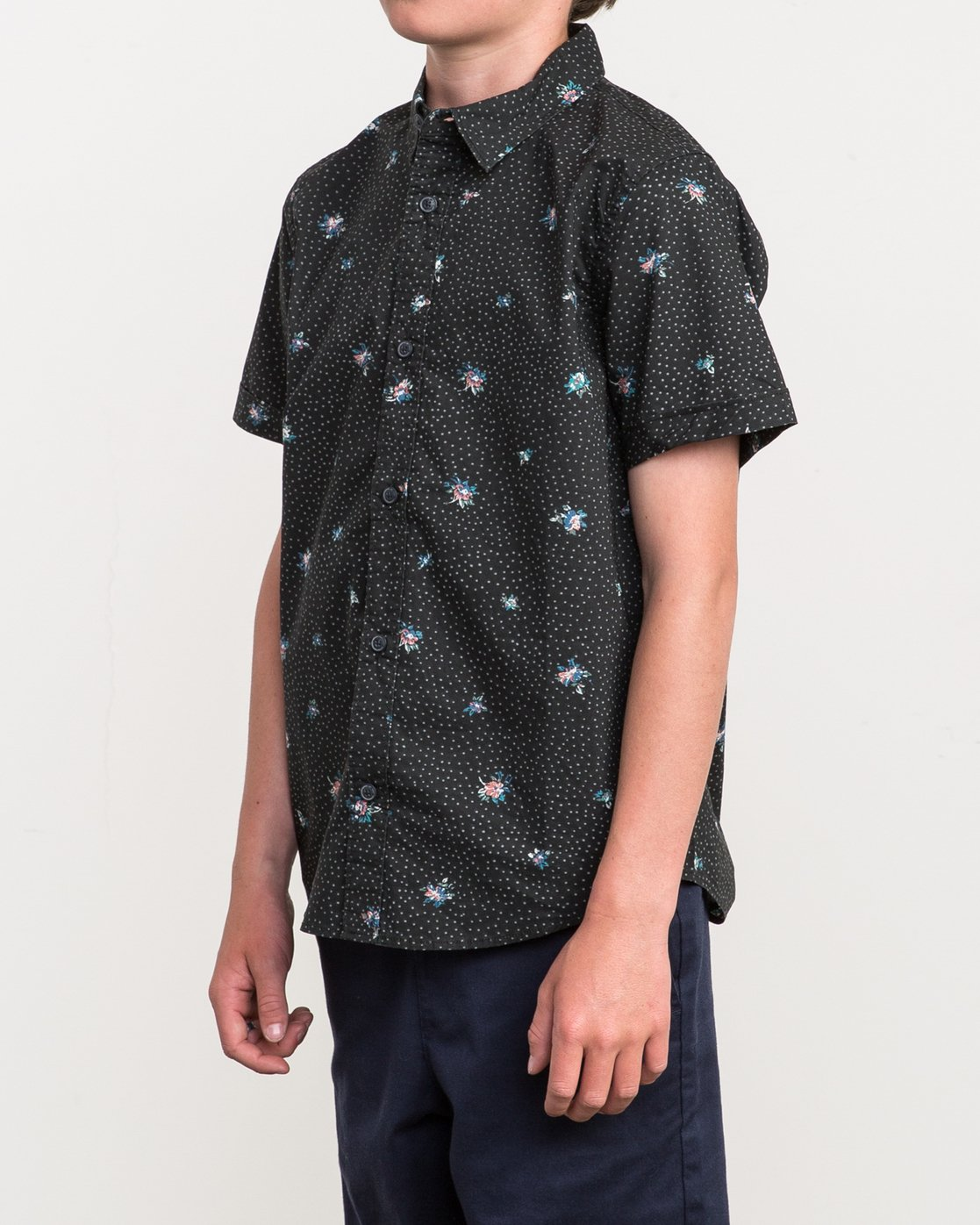 2 Boy's Scattered Printed Shirt Black B506QRSC RVCA