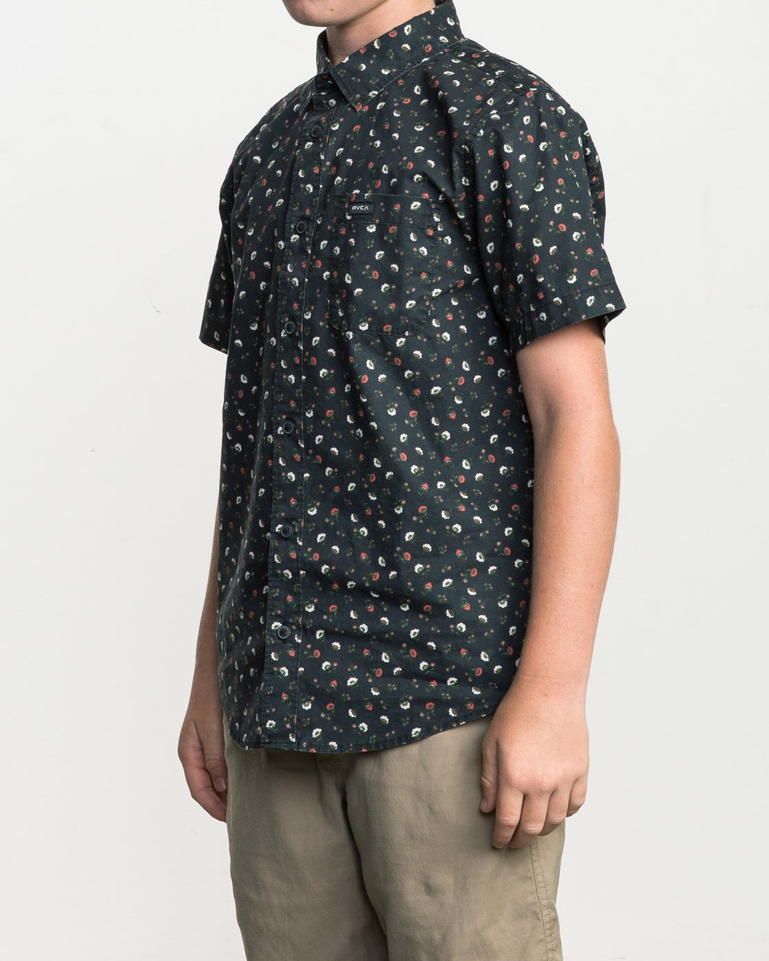2 Boy's Folk Button-Up Shirt Black B506SRFO RVCA