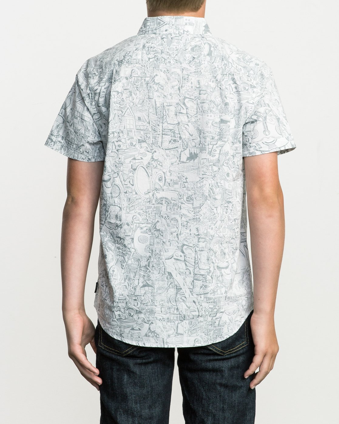 3 Boy's Grillo Button-Up Shirt White B507SRGR RVCA