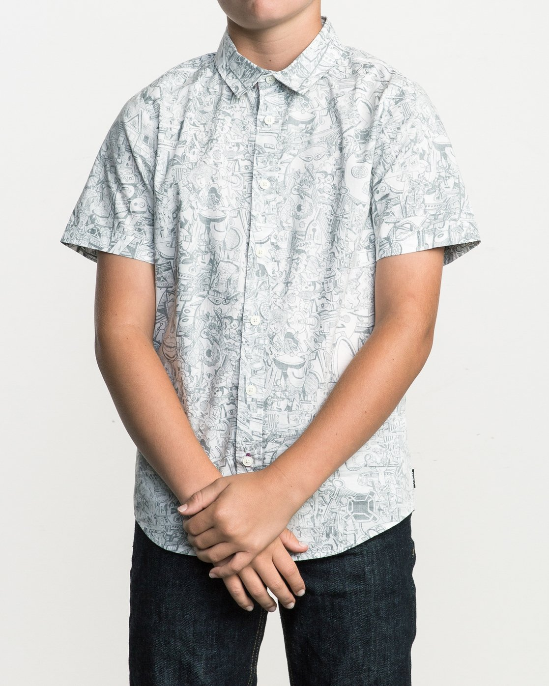 1 Boy's Grillo Button-Up Shirt White B507SRGR RVCA