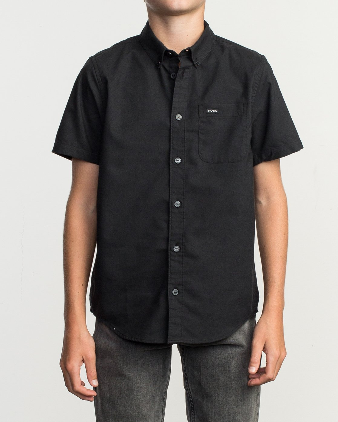 1 Boys That'll Do Stretch Short Sleeve Shirt Black B525TRTS RVCA