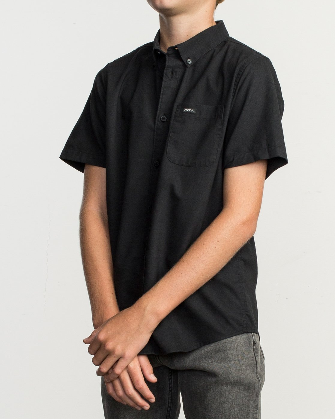 2 Boys That'll Do Stretch Short Sleeve Shirt Black B525TRTS RVCA