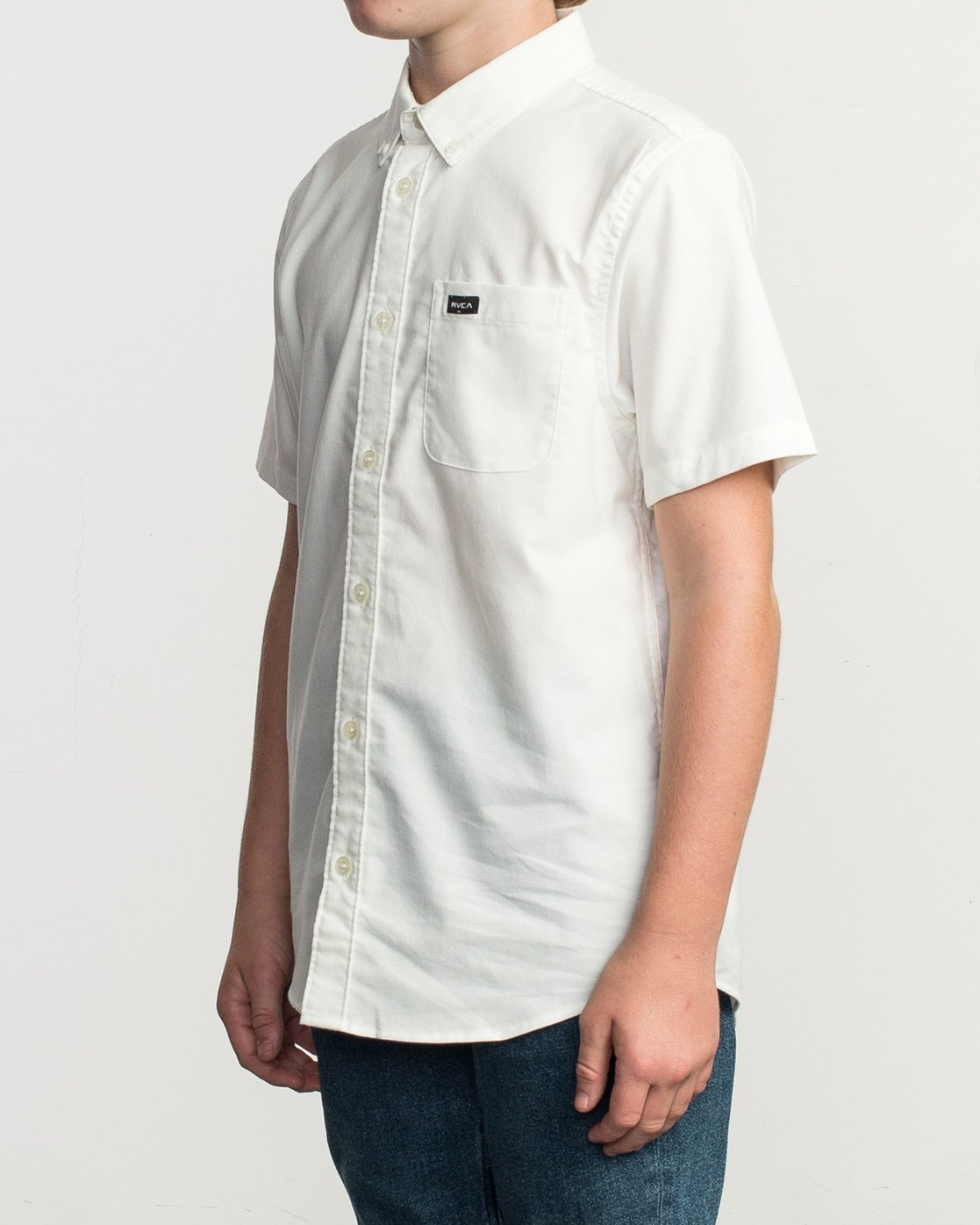 4 Boys That'll Do Stretch Short Sleeve Shirt White B525TRTS RVCA